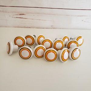 Vintage retro ceramic orange Striped knobs drawer